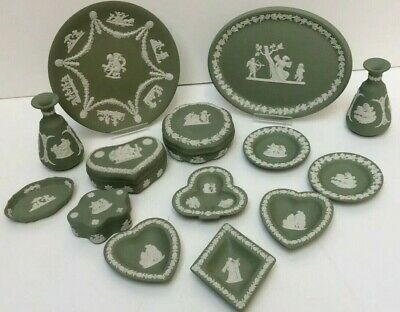 Wedgwood Green Jasper 18 X Mixed Trinket Pots/Dishes  Unboxed Preowned (850ZS) • 13.50£