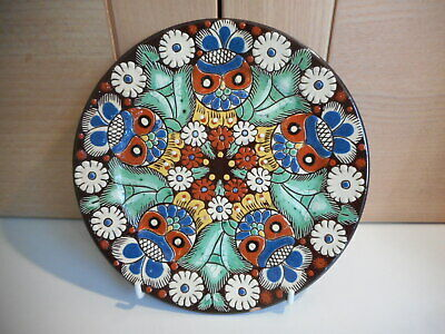 Swiss Thoune Pottery Faience Majolica Owl & Floral Wall Plate Plaque • 14.99£