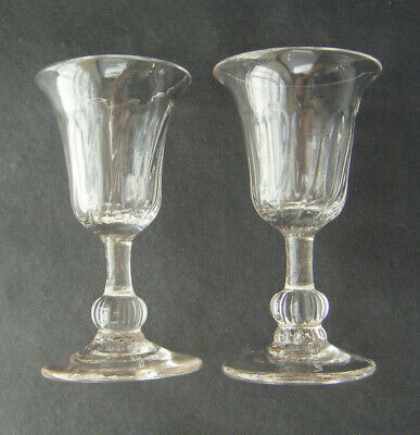 PAIR OF 18th CENTURY PETAL MOULDED WINE/DRAM GLASSES • 60£