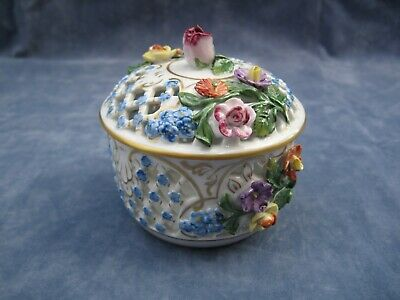 Carl Thieme Dresden Hand Painted Floral Encrusted Reticulated Trinket Box • 125£