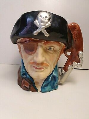 Large Pirate Character Toby Jug  Pistol Handle Skull  Crossbones Vintage  • 11.50£
