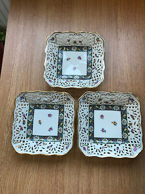 Set Of Three Dresden Schumann China Square Dishes • 50£