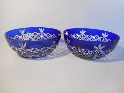 Cobalt Blue And Clear Cut Small Glass Bowls • 10£
