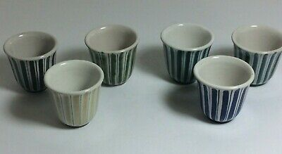 RYE Studio Pottery COTTAGE Stripe Six Egg Cups / Saki Cups Mid Century  • 10.49£