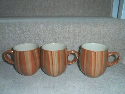 3 X DENBY FIRE CHILLI STRIPE LARGE CURVED MUGS SET - GREAT CONDITION • 22.99£