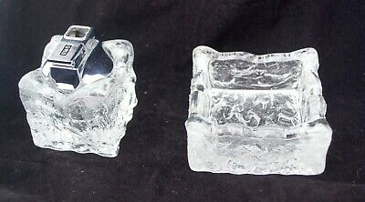 RARE Vintage Whitefriars Clear Bark Glass Table Lighter & Matching Ashtray Retro • 50£