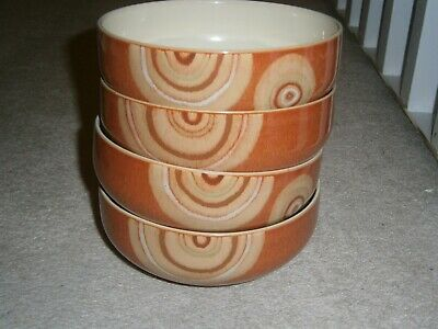4 Lovely Stylish Denby Fire Chilli Cereal Bowls Set - Great Condition • 31.99£