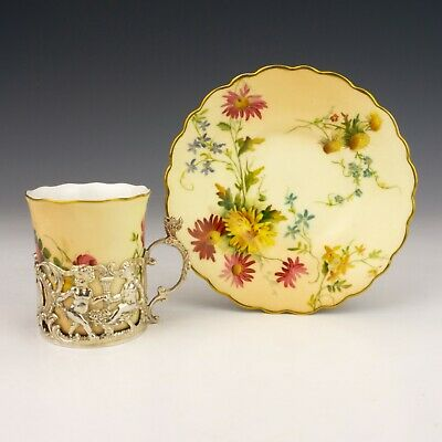 Royal Worcester Blush Ivory Silver Cherub Mounted Coffee Cup & Saucer - Nice! • 37£