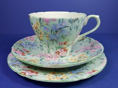 Vintage Shelley Melody Chintz Design Trio - Cup Saucer Plate • 15£