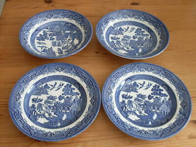 Willow Pattern Plates ( 2 ) + Two Bowls,  Churchill - Staffordshire  All Perfect • 2.99£