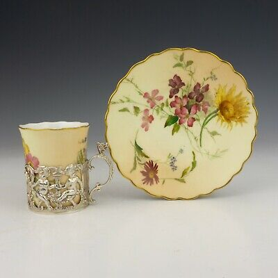 Royal Worcester Blush Ivory Silver Cherub Mounted Cabinet Cup & Saucer  • 29£