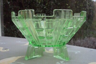 Large Chunky Art Deco Green Pressed Glass Vase With Rocket Feet. • 7.50£