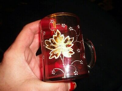 Antique Faceted Gilded Handpainted Cranberry Glass Small Mug 3  Tlc • 2.49£