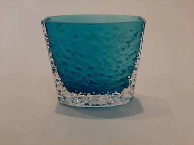 A Whitefriars Glass Bow Front Shaped Nailhead Vase In Kingfisher Blue - 9685 • 22£