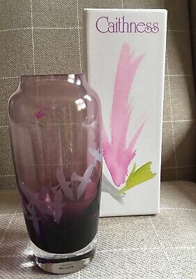 VINTAGE CAITHNESS CRANBERRY ART GLASS VASE 19cms TALL BOXED • 4.99£