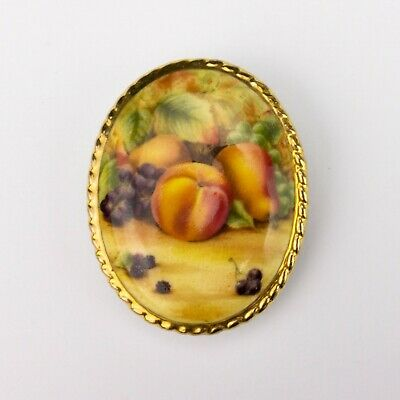 Aynsley Fine Bone China - Orchard Gold Fruit Decorated Pin Brooch - Lovely! • 0.99£