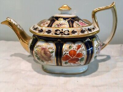 Early 19thc Coalport, Derby, Staffs Hand Painted Teapot, Flowers, Gilt Decorated • 25£