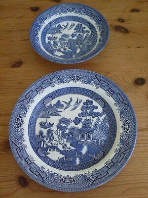 Willow Pattern Plate, Large, + Bowl,  Churchill - Staffordshire  Both Perfect • 2.99£