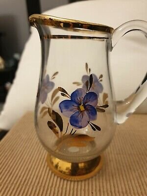 Vintage Handpainted Cream Jug Glass Decorated With Flowers And Gold Rim • 3£