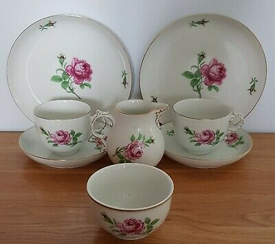 Furstenbery West Germany 1950s Red Rose Part Tea Service For Two. • 49.99£