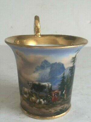 Antique SCENIC Painted GERMAN Porcelain Cabinet Cup MOUNTAINS COWS FAMILY 19thC • 21£