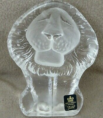 Royal Krona Sweden Full Lead Crystal Lion Paperweight 665g • 30£