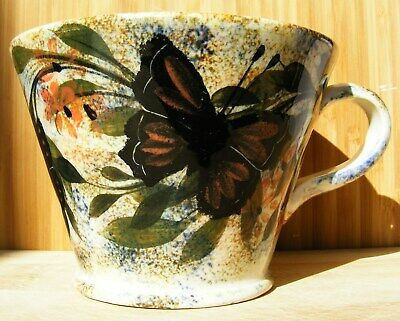 Gwili Pottery - Superb Butterfly Mug With Foliage - Signed DG - Excellent  • 24.99£