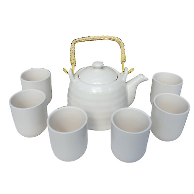 Chinese Herbal Tea Set - Classic White - 6 Cups And Infuser - Boxed • 23.85£