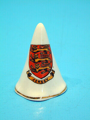 W.H.Goss Crested China Conical Candle Snuffer - Jersey • 11.99£