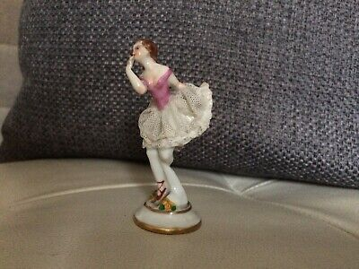Vintage Dresden China Lace Dressed Lady Figurine - Beautiful Example • 7.99£