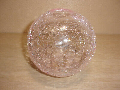 Silvestri Mouth Blown Glass Pink Crackle Glass Round Vase • 7.51£