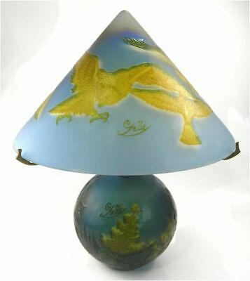 Vintage Late 20th Century Reproduction Galle Overlaid Glass Lamp Eagle Landscape • 375£