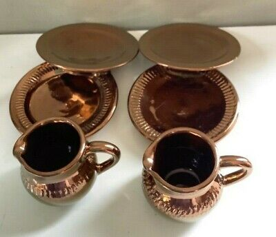 Creigiau Pottery Wales Cardiff Collection Of 6 Items Copper Lustre Plates Jugs • 22£