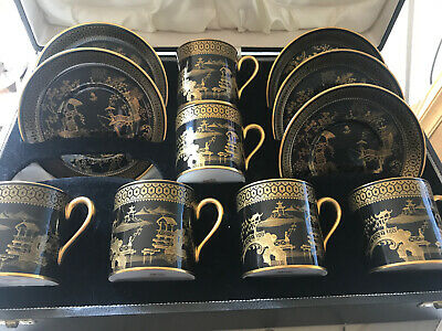 Spode Bone China Black / Gold Oriental Garden Coffee Can Set Very Rare In Box • 55£