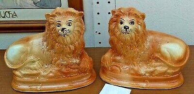 A Pair Of Victorian Staffordshire Mantle Lions • 95£