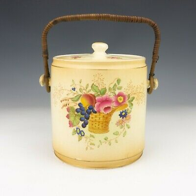 Antique Crown Ducal - Blush Glazed Flower Decorated Biscuit Barrel - Lovely! • 19.99£