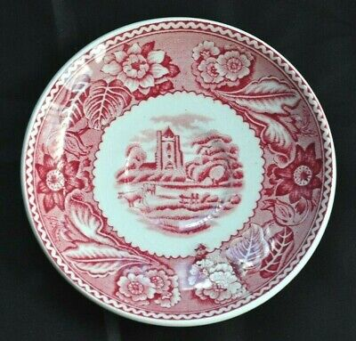 Wood & Sons Red & White Woodland Pattern Saucer • 1£