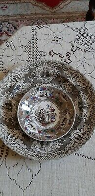 Antique Staffordshire Pottery Dish (Barker?) And Plate With Similar Decoration   • 9.99£