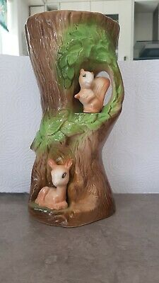 Vintage Withernsea Eastgate Pottery Number 94 Squirrel And Fawn Tall Vase. • 10£