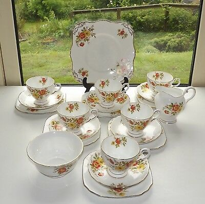 Tuscan China Rh & SL Plant Floral 21 Pc Tea Set Cups Saucers Plates C9125  1950s • 39£