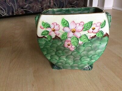 Maling Art Deco Green Thumbprint And Floral Lustre Vase • 29.99£