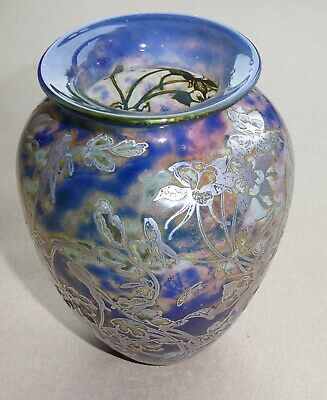 A Signed Trial Jonathan Harris Tall Reheat Silver Cameo Glass Vase 2001 • 495£
