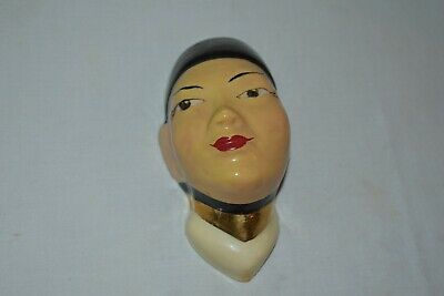 RARE Vintage CERAMIC Asian Head  WALL POCKET  PLANTER Cute! EUC • 18.55£
