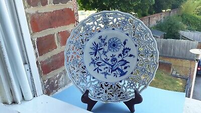 Meissen Blue & White Onion Pattern Reticulated Plate - Restoration Project • 16.50£