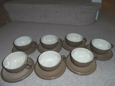 7 X DENBY CINNAMON BROWN & CREAM TEA CUPS AND SAUCERS SET - EXCELLENT CONDITION • 16.99£