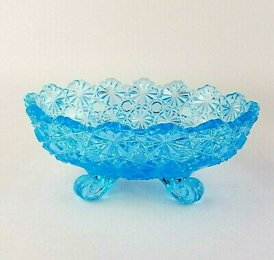 Fenton Blue Daisy & Button Oval Footed Candy/Nut Dish • 10.41£