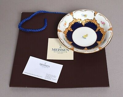 Attractive German Meissen Porcelain Small Bowl With Bag & Card • 90£