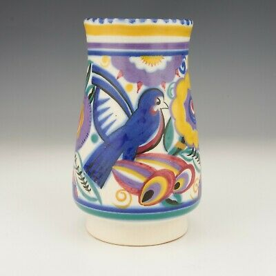 Poole Pottery - Comical Blue Bird Exotic Flowers Hand Painted Vase - Art Deco • 25£