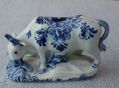 Attractive Hand Painted Blue & White Delft Cow • 5£