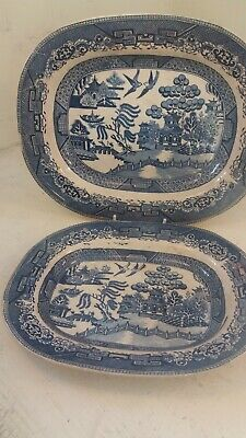 2 Blue & White Antique Willow Pattern Meat Plates  • 14.50£